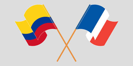 Crossed and waving flags of Colombia and France