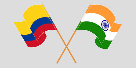 Crossed and waving flags of Colombia and India