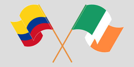 Crossed and waving flags of Colombia and Ireland
