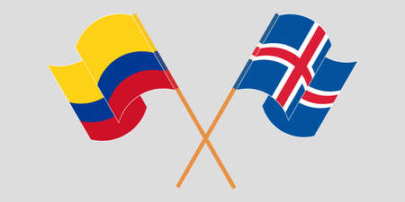 Crossed and waving flags of Colombia and Iceland