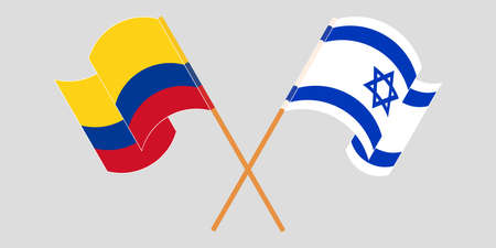 Crossed and waving flags of Colombia and Israel 일러스트