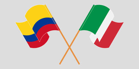 Crossed and waving flags of Colombia and Italy 일러스트
