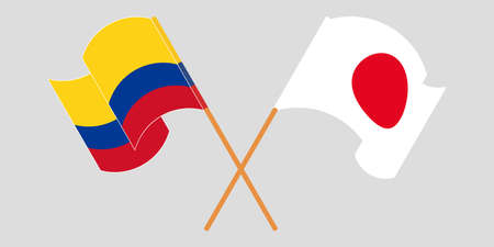 Crossed and waving flags of Colombia and Japan 일러스트