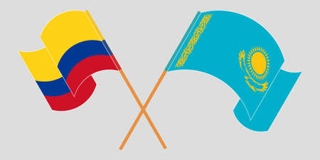 Crossed and waving flags of Colombia and Kazakhstan