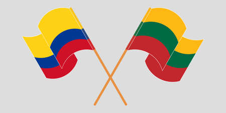 Crossed and waving flags of Colombia and Lithuania