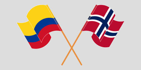 Crossed and waving flags of Colombia and Norway