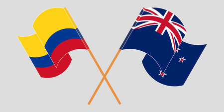 Crossed and waving flags of Colombia and New Zealand 일러스트