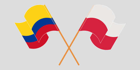 Crossed and waving flags of Colombia and Poland