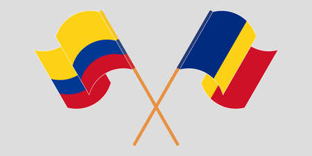 Crossed and waving flags of Colombia and Romania 일러스트