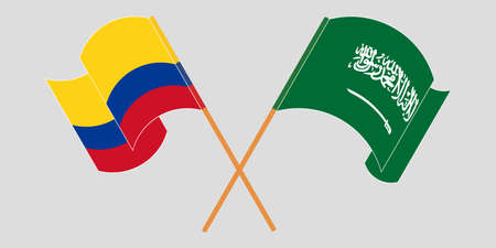Crossed and waving flags of Colombia and the Kingdom of Saudi Arabia