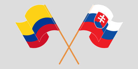 Crossed and waving flags of Colombia and Slovakia 일러스트