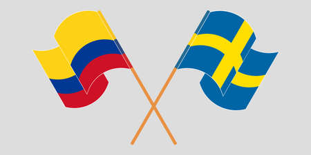 Crossed and waving flags of Colombia and Sweden 일러스트