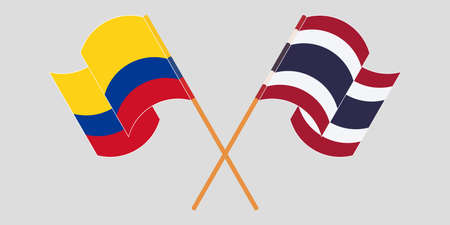 Crossed and waving flags of Colombia and Thailand