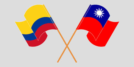 Crossed and waving flags of Colombia and Taiwan