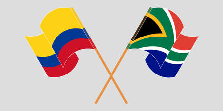 Crossed and waving flags of Colombia and Republic of South Africa