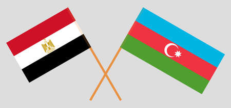 Crossed flags of Egypt and Azerbaijan