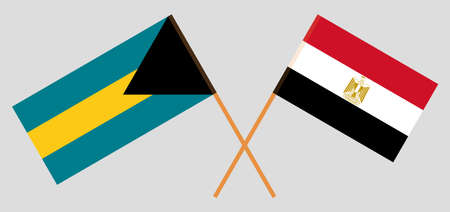 Crossed flags of Egypt and Bahamas