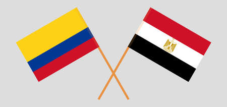Crossed flags of Egypt and Colombia