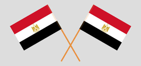 Crossed flags of Egypt and Egypt