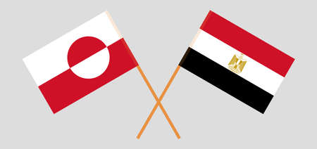 Crossed flags of Egypt and Greenland