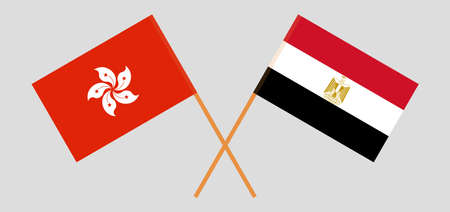Crossed flags of Egypt and Hong Kon 일러스트