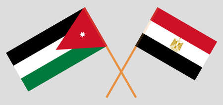 Crossed flags of Egypt and Jordan 일러스트