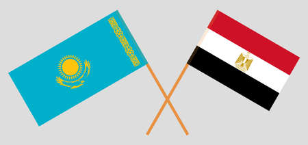 Crossed flags of Egypt and Kazakhstan