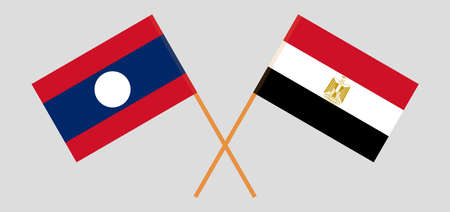 Crossed flags of Egypt and Laos