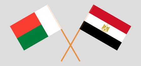 Crossed flags of Egypt and Madagascar