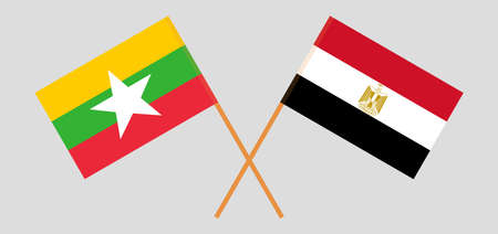Crossed flags of Egypt and Myanmar