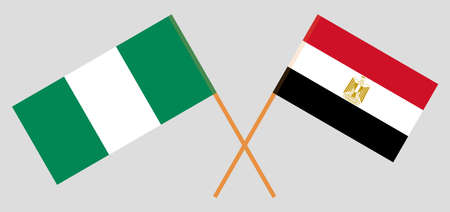 Crossed flags of Egypt and Nigeria 일러스트