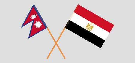 Crossed flags of Egypt and Nepal 일러스트