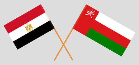 Crossed flags of Egypt and Oman 일러스트