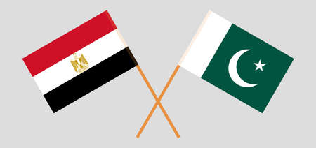 Crossed flags of Egypt and Pakistan