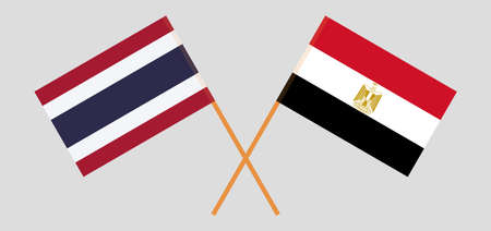 Crossed flags of Egypt and Thailand