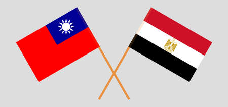 Crossed flags of Egypt and Taiwan