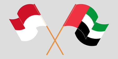 Crossed and waving flags of Indonesia and the United Arab Emirates 일러스트