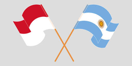 Crossed and waving flags of Indonesia and Argentina 일러스트