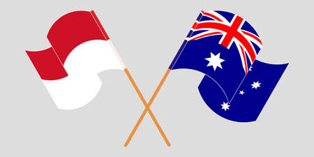 Crossed and waving flags of Indonesia and Australia 일러스트