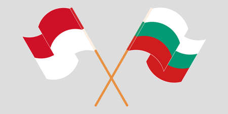 Crossed and waving flags of Indonesia and Bulgaria