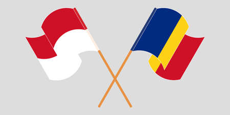 Crossed and waving flags of Indonesia and Romania