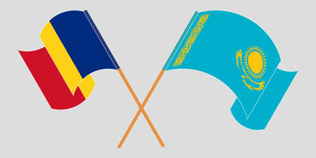 Crossed and waving flags of Kazakhstan and Romania