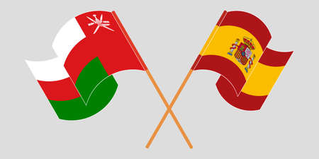 Crossed and waving flags of Oman and Spain 矢量图像