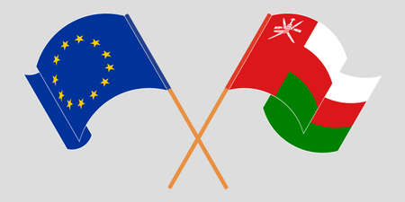 Crossed and waving flags of Oman and the EU 矢量图像