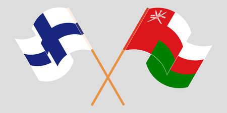 Crossed flags of Oman and Finland 矢量图像