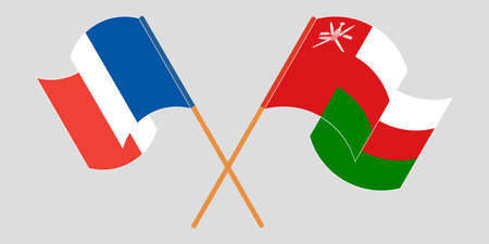 Crossed flags of Oman and France 矢量图像