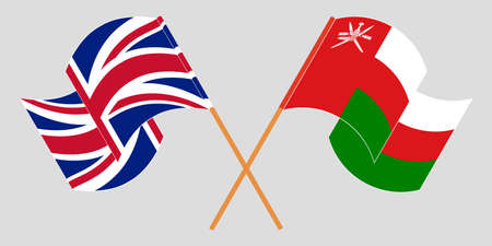 Crossed flags of Oman and the UK