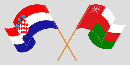Crossed and waving flags of Oman and Croatia