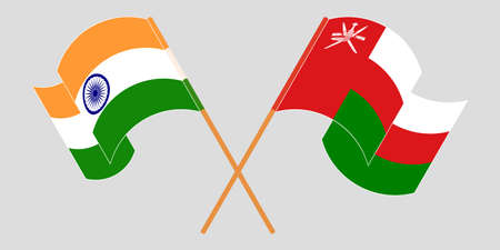 Crossed flags of Oman and India