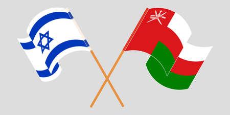 Crossed flags of Oman and Israel